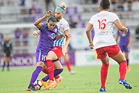 Orlando, FL - Saturday July 01, 2017: Marta, Julie Ertz during a regular season National Women's Soccer League (NWSL) match between the Orlando Pride and the Chicago Red Stars at Orlando City Stadium.