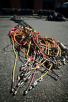 Flushing, NY - 17 August 2005 - Television feed cables lie outside the Arthur Ash stadium at the National Tennis Center - home of the US Open - in Flushing, Queens, NY, USA, 17 August 2005.