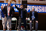 CLEVELAND, OH - MARCH 10: Johnson & Wales University coaches react during the match between Carlos Fuentez, of Wheaton and Jay Albis, of Johnson & Wales, in the 125 weight class during the Division III Men's Wrestling Championship held at the Cleveland Public Auditorium on March 10, 2018 in Cleveland, Ohio. (Photo by Jay LaPrete/NCAA Photos via Getty Images)