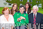 Killarney golfer Michael O'Leary celebrates with his parents Denis and Helen and his sisters Sinead and Collette after winning a Silver Medal at the Special Olympics in Greece at his home coming in the Malton Hotel on Saturday night