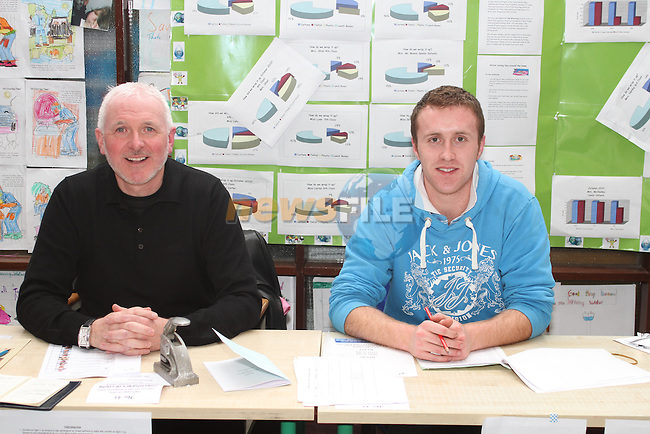 Termonfeckin School Principal Eddie Rocks and Dermot Mooney at the polling station in Termonfeckin, Election 2011...(Photo credit should read Jenny Matthews/www.newsfile.ie)....This Picture has been sent you under the conditions enclosed by:.Newsfile Ltd..The Studio,.Millmount Abbey,.Drogheda,.Co Meath..Ireland..Tel: +353(0)41-9871240.Fax: +353(0)41-9871260.GSM: +353(0)86-2500958.email: pictures@newsfile.ie.www.newsfile.ie.