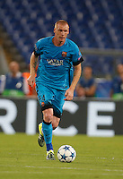 Barcellona's Jeremy Mathieu  during the Champions League Group E soccer match against AS Roma  at the Olympic Stadium in Rome September 16, 2015