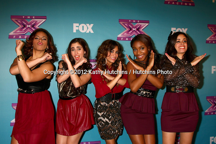 LOS ANGELES - DEC 20:  Fifth Harmony at the 'X Factor' Season Finale at CBS Television City on December 20, 2012 in Los Angeles, CA
