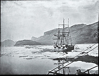 BNPS.co.uk (01202 558833)<br /> Pic: PenzanceAuctions/BNPS<br /> <br /> Approaching the freezing waters of Greenland. <br /> <br /> Incredibly rare glass slides depicting the British expedition to the North Pole in 1875 have been found 140 years later.<br /> <br /> The remarkable images from the early days of photography depict the brave men and their Inuit guides who endured sub-zero temperatures to try to become the first to reach the pole in 1875.<br /> <br /> Photographers Thomas Mitchell and George White went on the failed expedition and now 42 of their glass slides have been found in a box during a house clearance in Cornwall.