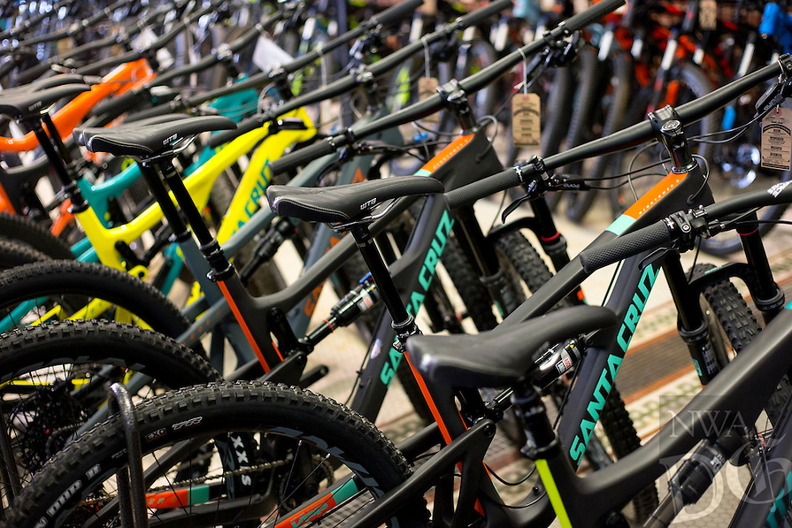 NWA Democrat-Gazette/JASON IVESTER<br /> A selection of bicycles line the show floor on Wednesday, Feb. 8, 2017, at Phat Tire Bike Shop in Bentonville.