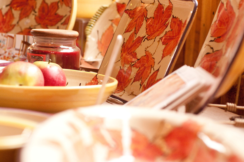 Detail of fall themed ceramics at LaTulip Pottery and Tile Works in Garden Michigan.