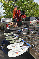 NWA Democrat-Gazette/FLIP PUTTHOFF<br />Artie Keith, a Heroes on the Water volunteer, unloads gear July 8 2017 at Lake Fayetteville.