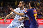 VELUX EHF 2017/18 EHF Men's Champions League Last 16.<br /> FC Barcelona Lassa vs Montpellier HB: 30-28.<br /> Baptiste Bonnefond vs Valero Rivera.