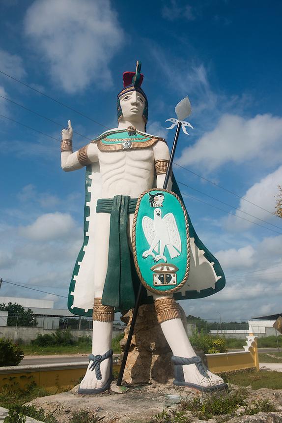 Mayan statue. Valladolid, Yucatan, Mexico