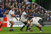 2nd February 2020, Stade de France, Paris; France, 6-Nations International rugby union, France versus England;  Demba Bamba (France) runs into the tackle from Sam Underhill (eng)