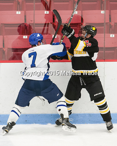 Ryan Gomez (Assumption - 7), Jake McDonough (WIT - 22) - The Wentworth Institute of Technology Leopards defeated the visiting Assumption College Greyhounds 4-2 on Sunday, January 18, 2015, at Walter Brown Arena in Boston, Massachusetts.