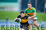 Alan O'Sullivan Dr Crokes in action against Paul O'Donoghue South Kerry in the Senior County Football Final in Austin Stack Park on Sunday