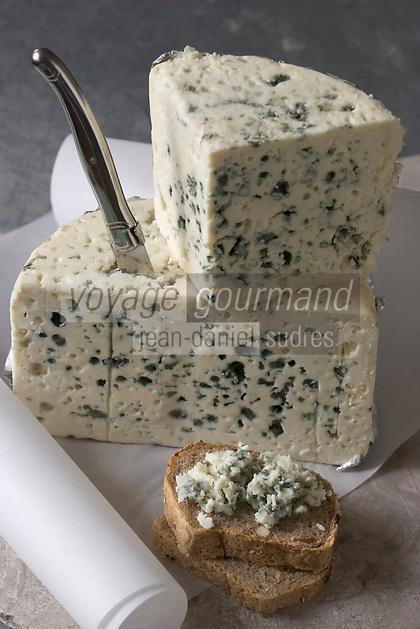 Europe/France/Midi-Pyrénées/12/Aveyron: Fromage AOC Roquefort et couteau Laguiole //  France, Aveyron, Roquefort AOC cheese