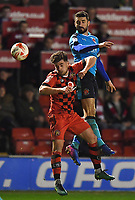 Fleetwood Town's Conor McLaughlin and Walsall's Joe Edwards jump for the ball<br /> <br /> Photographer Dave Howarth/CameraSport<br /> <br /> The EFL Sky Bet League One - Walsall v Fleetwood Town - Tuesday 14th March 2017 - Banks's Stadium - Walsall<br /> <br /> World Copyright &copy; 2017 CameraSport. All rights reserved. 43 Linden Ave. Countesthorpe. Leicester. England. LE8 5PG - Tel: +44 (0) 116 277 4147 - admin@camerasport.com - www.camerasport.com