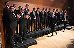 St Johnstone FC Scottish Cup Celebration Dinner at Perth Concert Hall...01.02.15<br /> The players and management team are applaude as they enter the main auditorium at the Perth Concert Hall, the last two cpatain Dave Mackay and Manager Tommy Wright make their entrance<br /> Picture by Graeme Hart.<br /> Copyright Perthshire Picture Agency<br /> Tel: 01738 623350  Mobile: 07990 594431