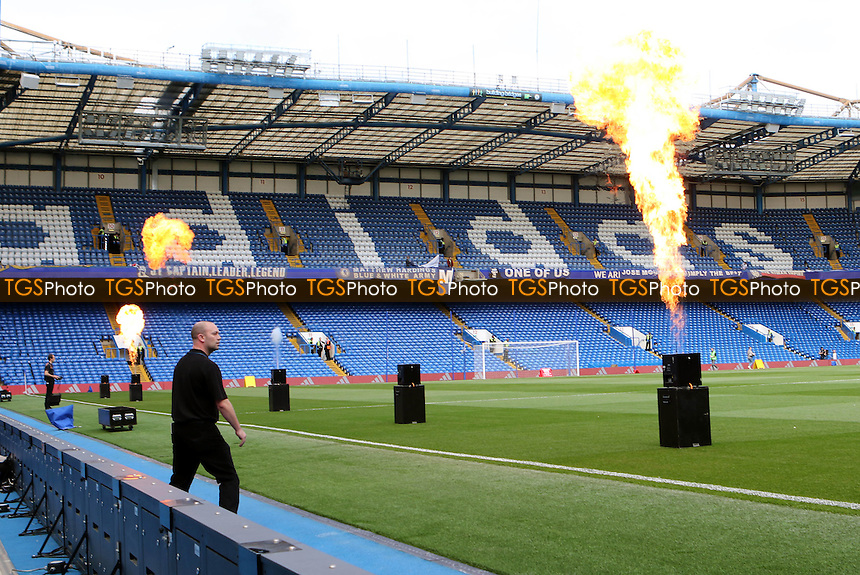 The flames of fire being tested to mark Chelsea's success as League Champions before the fans arrive. These will be used as the players enter the field of play - Chelsea vs Liverpool - Barclays Premier League Football at Stamford Bridge, London - 10/05/15 - MANDATORY CREDIT: Paul Dennis/TGSPHOTO - Self billing applies where appropriate - contact@tgsphoto.co.uk - NO UNPAID USE