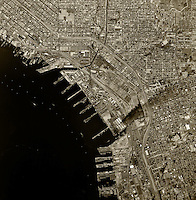 historical aerial photograph National City, San Diego county, California, 1966