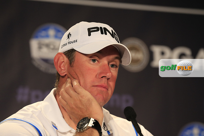Lee Westwood (ENG) in the interview room during Tuesday's Practice Day of the 95th US PGA Championship 2013 held at Oak Hills Country Club, Rochester, New York.<br /> 6th August 2013.<br /> Picture: Eoin Clarke www.golffile.ie