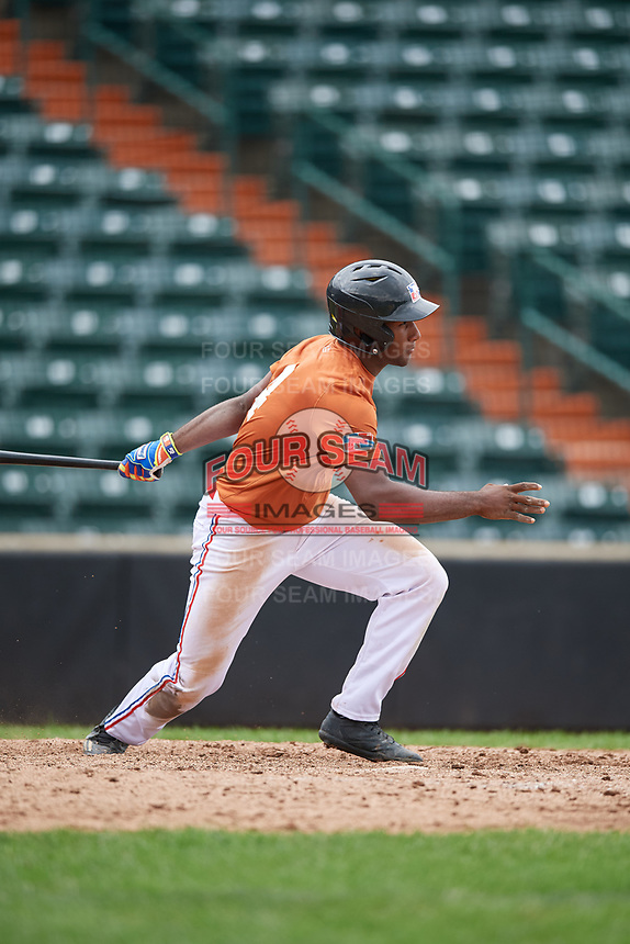 Luis Encarnacion (4) follows through on a swing during the Dominican Prospect League Elite Underclass International Series, powered by Baseball Factory, on July 21, 2018 at Schaumburg Boomers Stadium in Schaumburg, Illinois.  (Mike Janes/Four Seam Images)
