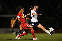 Sky Blue FC midfielder Katy Freels (17) is marked by Western New York Flash defender Estelle Johnson (12). The Western New York Flash defeated Sky Blue FC 2-0 during a National Women's Soccer League (NWSL) semifinal match at Sahlen's Stadium in Rochester, NY, on August 24, 2013.