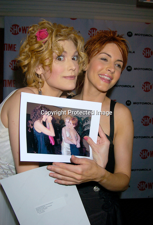 """Thea Gill and Michelle Clunie and photos by Robin Platzer..at the New York Premiere party for the new season of   Showtimes""""Queer As Folk""""  which starts on April 18, 2004. ..The party was at The Gramercy Park Hotel on March 31, 2004. ..Photo by Robin Platzer, Twin Images"""