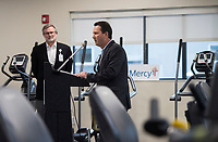 NWA Democrat-Gazette/BEN GOFF @NWABENGOFF<br /> Eric Pianalto, Mercy Hospital Northwest Arkansas president, speaks Wednesday, Feb. 21, 2018, during a ribbon cutting and blessing at Mercy Therapy Services on Horsebarn Road in Rogers. Mercy celebrated the renovation of the facility, quadrupling the space to 10,000 square feet, with more open exercise space, new equipment and curtained-off individual treatment rooms.