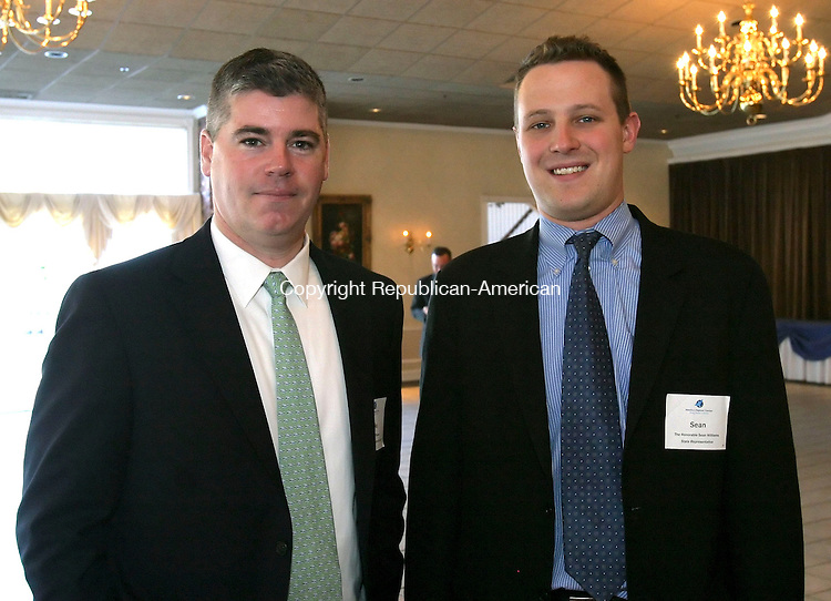 SOUTHINGTON, CT, 03/27/07- 032707BZ05- From left- Michael O'Connor, C.E.O. of Waterbury Developent Corporation; and Rep. Sean J. Williams, R-Watertown; <br /> during the Waterbury Regional Chamber's 2007 Legislative Dinner at the Aqua Turf Club in Southington Tuesday night.<br /> Jamison C. Bazinet Republican-American