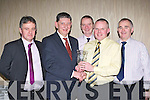 Ger Galvin presented Crystal vases for outstanding contribution to Gneeveguilla GAA club night to Charles O'Leary, John Cronin and Bill O'Riordan at their social in the Killarney Heights Hotel on Saturday night l-r: Stephen O'Sullivan Chairman, Ger Galvin, Charles O'Leary, John Cronin and Bill O'Riordan.