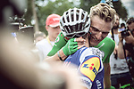 Marcel Kittel (GER) Quick-Step Floors hugs team mateGianluca Brambilla (ITA) after winning Stage 10 of the 104th edition of the Tour de France 2017, running 178km from Perigueux to Bergerac, France. 11th July 2017.<br /> Picture: ASO/Thomas Maheux | Cyclefile<br /> <br /> <br /> All photos usage must carry mandatory copyright credit (&copy; Cyclefile | ASO/Thomas Maheux)