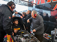 Mar 17, 2019; Gainesville, FL, USA; NHRA team owner Connie Kalitta (right) talks with top fuel driver Richie Crampton as he warms up the dragster during the Gatornationals at Gainesville Raceway. Mandatory Credit: Mark J. Rebilas-USA TODAY Sports