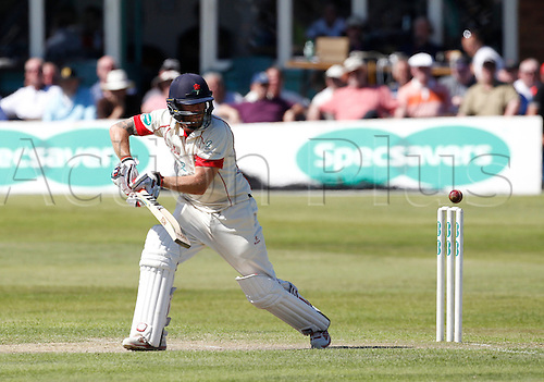 18.07.2016. Southport and Birkdale Cricket Club, Southport, England. Specsavers County Championship Cricket. Lancashire versus Durham. Lancashire all-rounder Luke Proctor plays a ball away outside the off stump on his way to a 2nd innings century.
