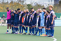 The players from Dulwich Hamlet observe the two minutes silence before kick off during Harlow Town vs Dulwich Hamlet, Buildbase FA Trophy Football at The Harlow Arena on 11th November 2017