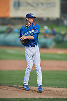 Connor Mitchell (16) of the Ogden Raptors delivers a pitch to the plate against the Idaho Falls Chukars at Lindquist Field on July 29, 2018 in Ogden, Utah. The Raptors defeated the Chukars 20-19. (Stephen Smith/Four Seam Images)