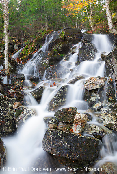 Waternomee Brook Cascades, a tributary of Lost River, on the northern slopes of Mount Waternomee in Kinsman Notch of Woodstock, New Hampshire during the summer months.