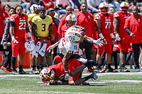 College Park, MD - April 27, 2019: Maryland Terrapins wide receiver Brian Cobbs (15) catches a pass during the spring game at  Capital One Field at Maryland Stadium in College Park, MD.  (Photo by Elliott Brown/Media Images International)
