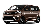 Stock pictures of low aggressive front three quarter view of 2018 Toyota Proace-Verso VIP 5 Door Minivan Low Aggressive