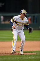 Travis Maezes (9) of the Michigan Wolverines fields during a 2015 Big Ten Conference Tournament game between the Michigan Wolverines and Indiana Hoosiers at Target Field on May 20, 2015 in Minneapolis, Minnesota. (Brace Hemmelgarn/Four Seam Images)
