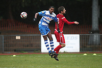 Mitchell Victorin of Ilford and Billy Jones of Walthamstow during Ilford vs Walthamstow, Essex Senior League Football at Cricklefields Stadium on 6th October 2018