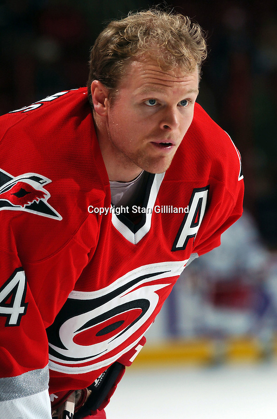 Carolina Hurricanes' Kevyn Adams warms up prior to a game with the New York Rangers Thursday, Nov. 17, 2005 in Raleigh, NC. Carolina won 5-1.