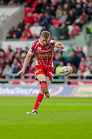 Saturday 10 May 2014<br /> Pictured: Rhys Preistland converts the first try for the Scarlets <br /> Re: Scarlets v Blues Rabo Direct Pro 12 Rugby Union Match at Parc y Scarlets, Llanelli, Wales