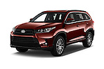 2017 Toyota Highlander SE 5 Door SUV Angular Front stock photos of front three quarter view