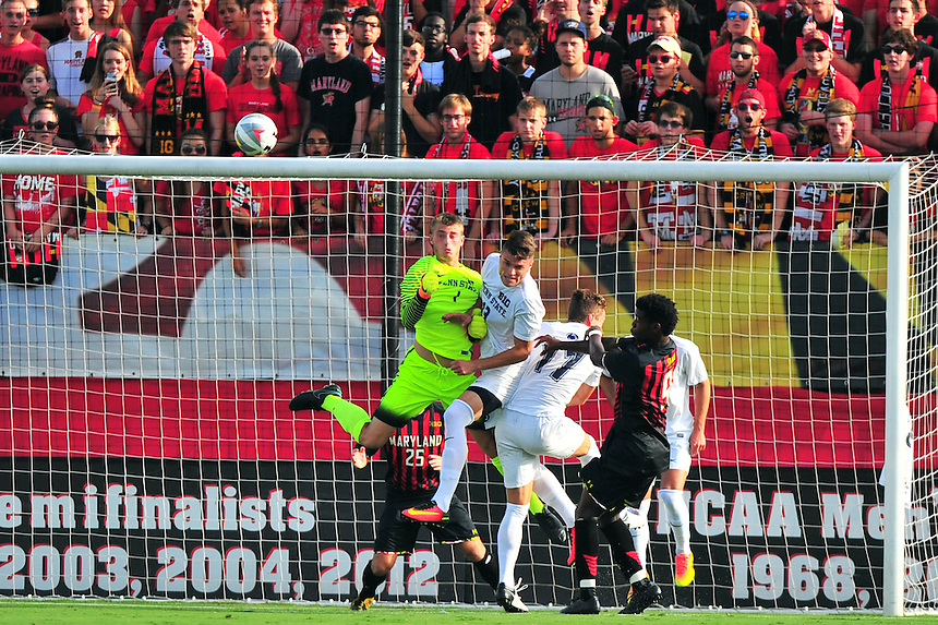 The Terrapins tries to header to goal during a corner kick. Maryland defeated Penn State in over time 3-2 during an NCAA D-1 soccer match at Ludwig Field in College Park, MD on Sunday, September 18, 2016.  Alan P. Santos/DC Sports Box