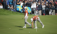 Francesco Molinari (Team Europe) with Tommy Fleetwood (Team Europe) on the 12th during Saturday's Fourballs, at the Ryder Cup, Le Golf National, Île-de-France, France. 29/09/2018.<br /> Picture David Lloyd / Golffile.ie<br /> <br /> All photo usage must carry mandatory copyright credit (© Golffile | David Lloyd)