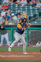 Dustin Fowler (10) of the Las Vegas Aviators at bat against the Salt Lake Bees at Smith's Ballpark on July 20, 2019 in Salt Lake City, Utah. The Aviators defeated the Bees 8-5. (Stephen Smith/Four Seam Images)