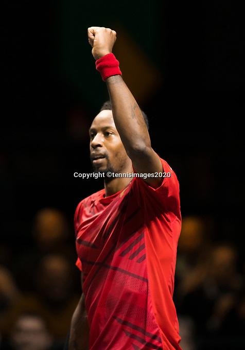 Rotterdam, The Netherlands, 15 Februari 2020, ABNAMRO World Tennis Tournament, Ahoy,<br /> Gaël Monfils (FRA) wins first set.<br /> Photo: www.tennisimages.com