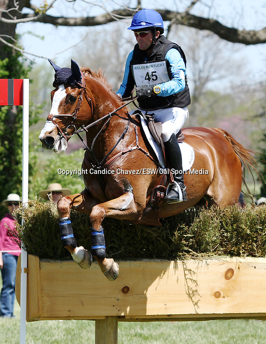 April 26, 2014: Mr. Medicott and Phillip Dutton compete in Cross Country at the Rolex Three Day Event in Lexington, KY at the Kentucky Horse Park.  Candice Chavez/ESW/CSM