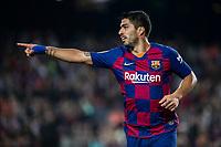 29th October 2019; Camp Nou, Barcelona, Catalonia, Spain; La Liga Football, Barcelona versus Real Valladolid; Luis Suarez of FC Barcelona gives a singal against Valladolid - Editorial Use