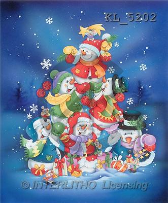 Interlitho, Isabella, CHRISTMAS SANTA, SNOWMAN, paintings, snowmen pyramid(KL5202,#X#)
