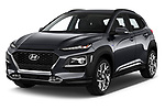 2020 Hyundai Kona Hybrid Sky 5 Door SUV angular front stock photos of front three quarter view