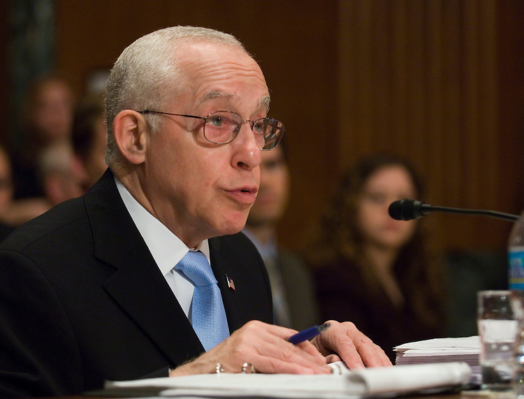 WASHINGTON, DC - April 10: Attorney General Michael B. Mukasey during the Senate Appropriations Subcommittee on Commerce, Justice and Science, and Related Agencies hearing on fiscal 2009 appropriations for the Department of Justice. (Photo by Scott J. Ferrell/Congressional Quarterly)